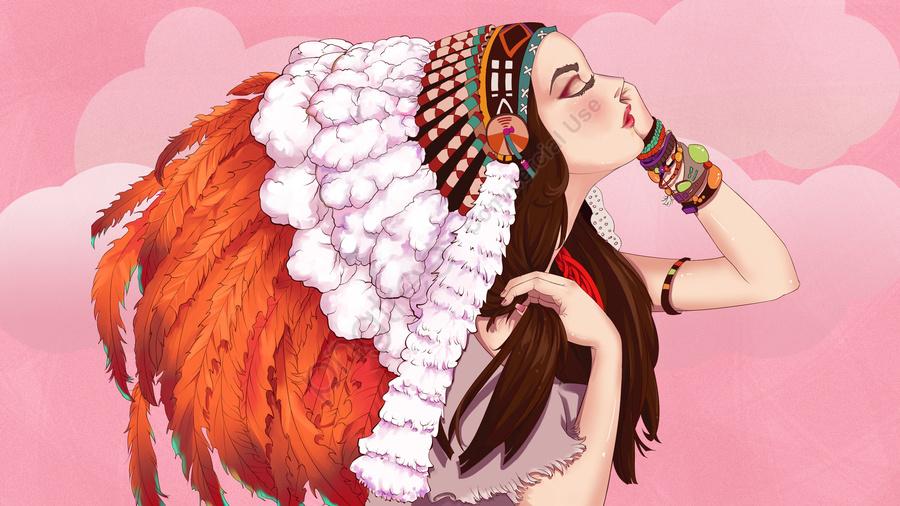 羽の帽子を持つ少女の美しくて美しいイラスト, 羽の帽子, 少女, 10代の少女 llustration image