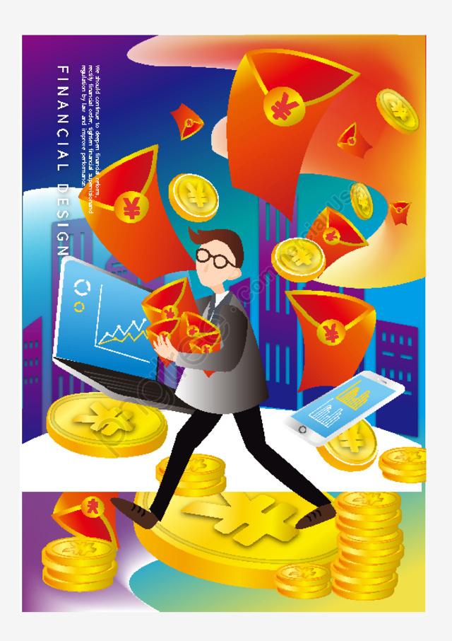 Финансовый менеджмент градиент цвет золотая монета красный конверт рыночная экономика сеть чтобы заработать деньги, финансовый, Финансовый менеджмент, постепенное изменение llustration image