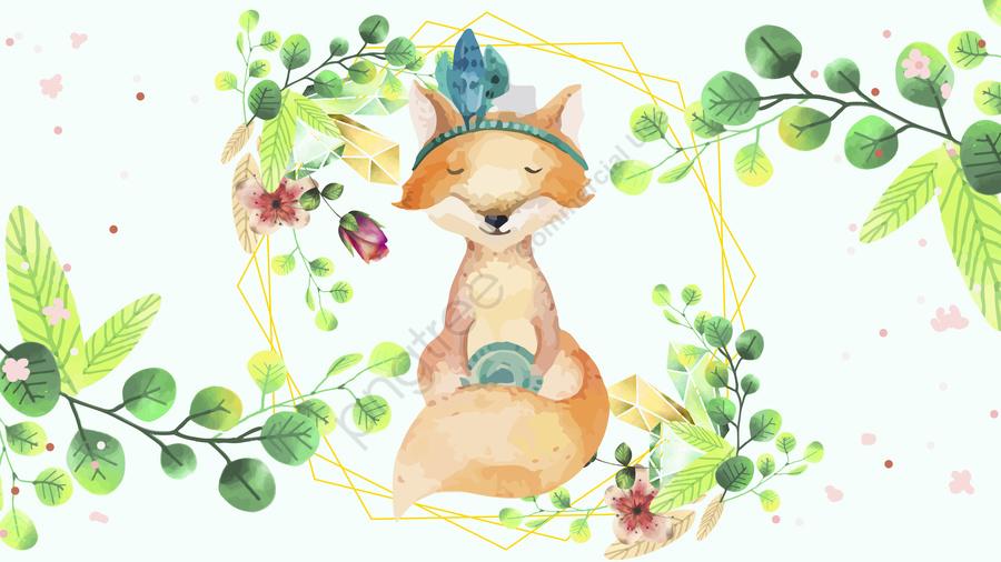もともと描かれたキツネの花小動物, キツネ, ガーランド, 花 llustration image