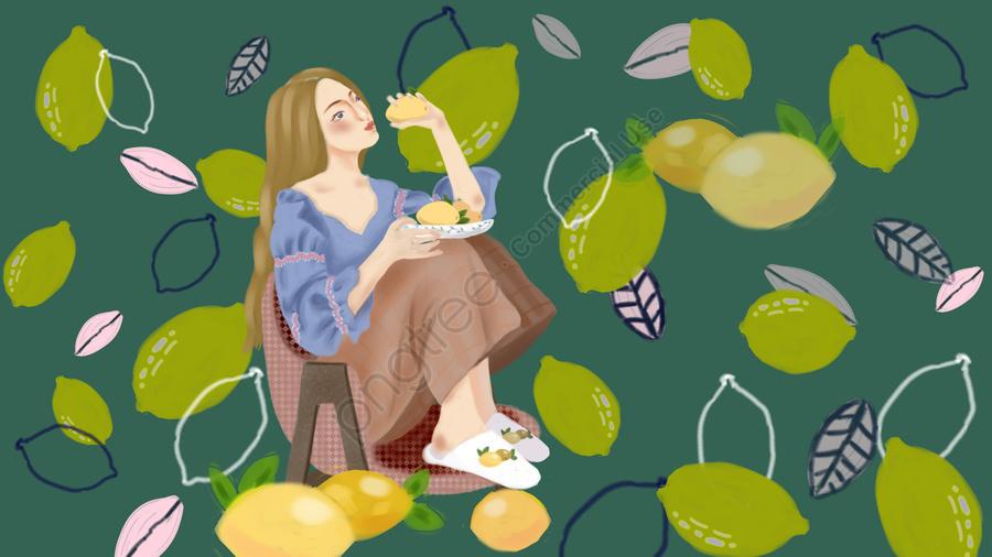 Fresh Lemon Girl In Summer Fruit Series, Friend Circle Map, Phone Wallpaper, Computer Wallpaper llustration image