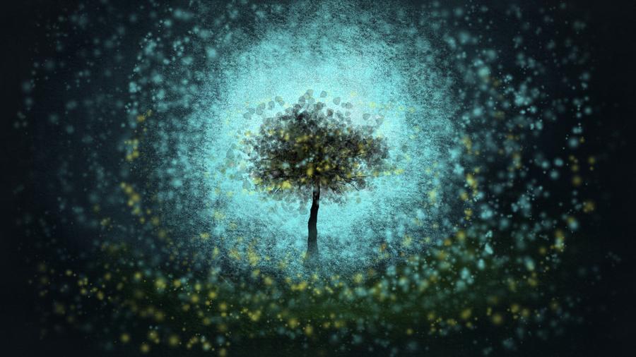 手描きの癒しのストリーマ願いツリー, おやすみなさい, 夜, 森 llustration image