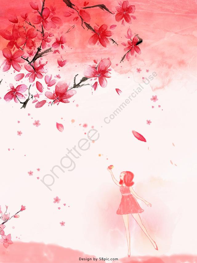 वाटरकलर गुलाबी वसंत मूल चित्रण को खिलता है, क्रमिक परिवर्तन, चित्रण, दृश्य ढाल llustration image