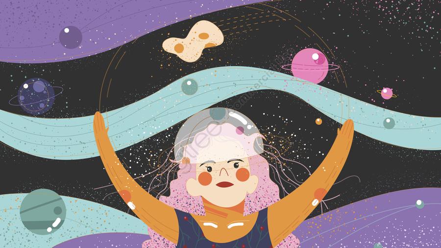 광대한 성해 가 원래 삽화 치유계 를 창조하였다, 아이디어, 오리지널, 여자 아이 llustration image