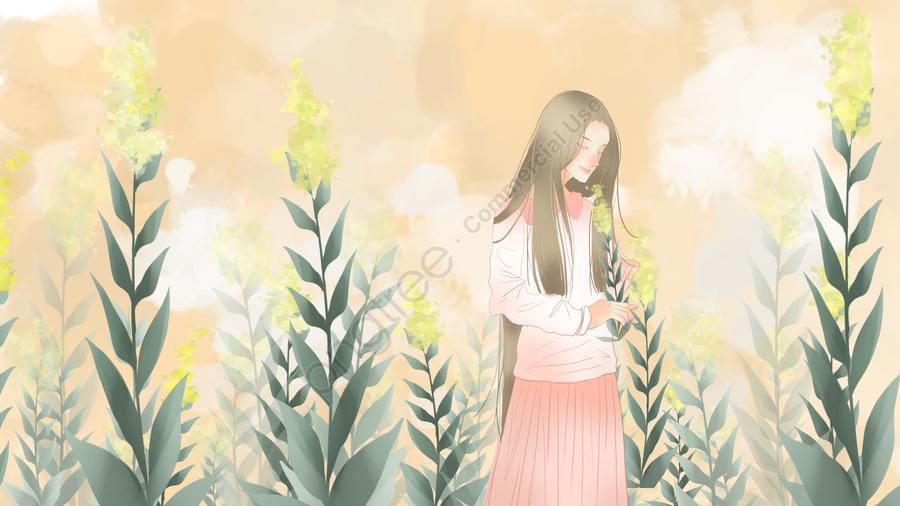 八月你好簡約清新盛開的花與少女, 八月你好, 簡約, 小清新 llustration image