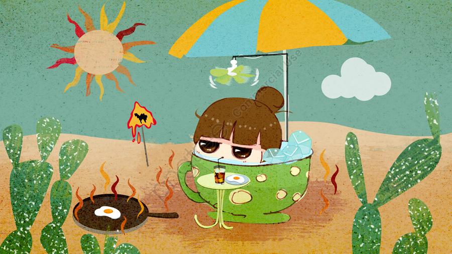 高温警報天気が暑くてレトロで可愛い漫画のイラストです, サボテン, 氷の塊, アニメ llustration image