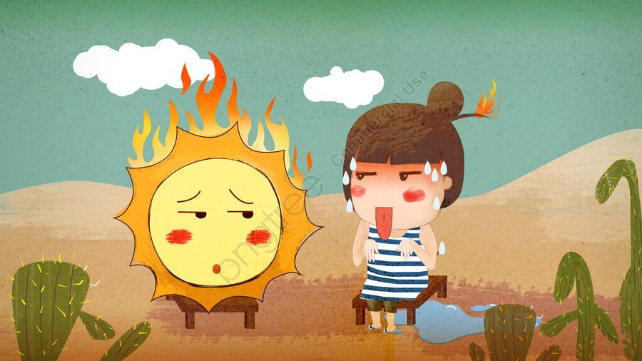 高温警告、私は太陽とのデート、かわいい漫画の手描き, 高温, 早期警告, 太陽 llustration image