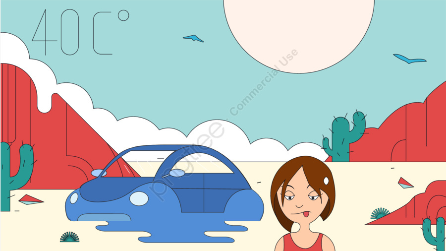 高温砂漠夏イラスト, 夏, 気温, 砂漠 llustration image