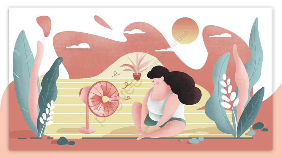 高温警告夏少女オリジナルイラスト, 高温, 高温警告, 少女 llustration image