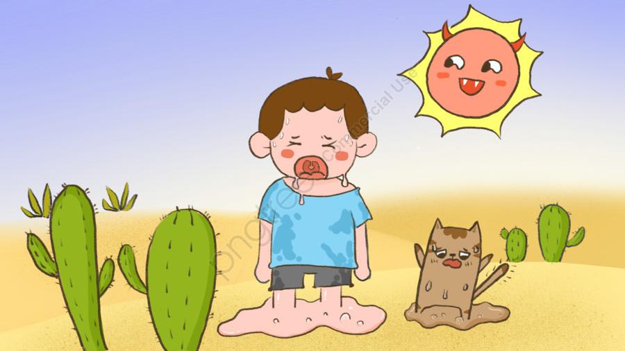 高温警告かわいい漫画の子供たちのイラストを加熱, 高温, 暑い天気, 熱中症予防 llustration image