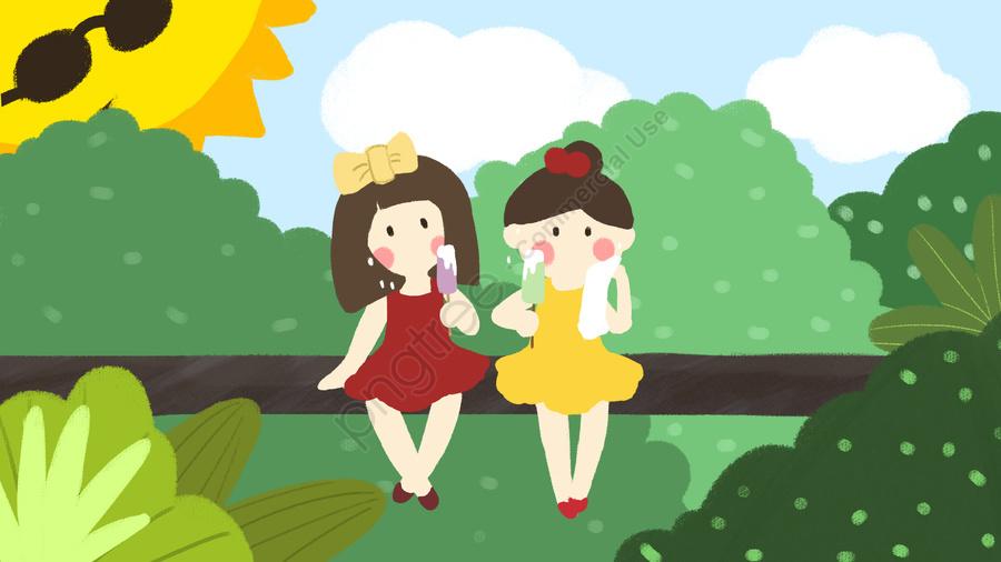 高温警告少女食べるアイスクリーム太陽屋外小さな新鮮な手描きイラスト, 高温警告, 熱中症予防, 少女 llustration image