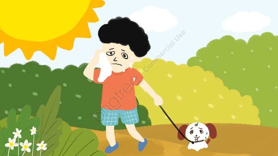 ハイエナウォークパーク新鮮なイラストを拭く高温警告太陽の少年, 高温警告, 熱中症予防, 太陽 llustration image