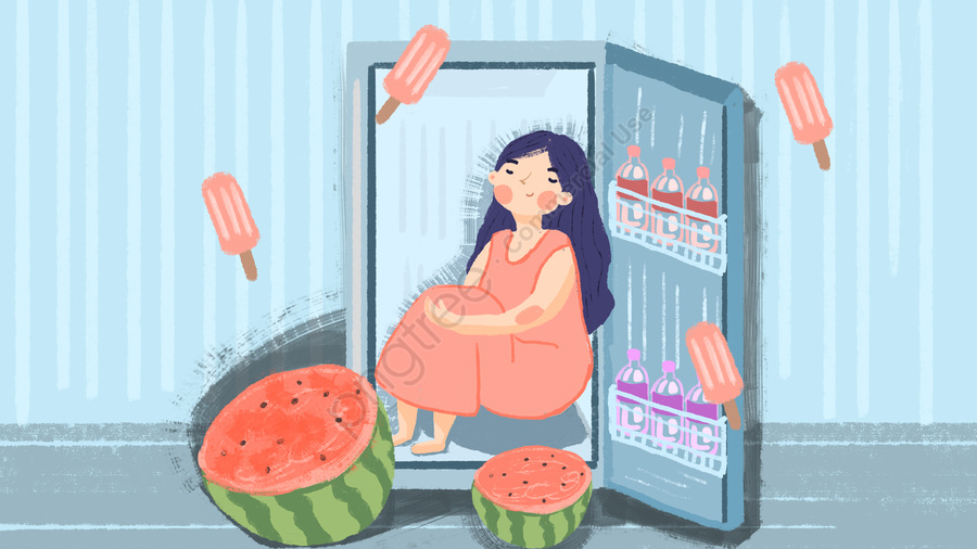 高温警告夏冷蔵庫イラスト絵, 高温警告, 高温, 熱い llustration image