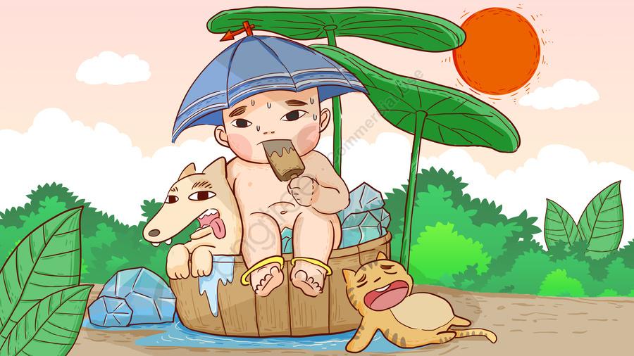 高温避暑で涼をとって氷を食べる手作りイラスト, 涼む, 子供, 猫と犬 llustration image
