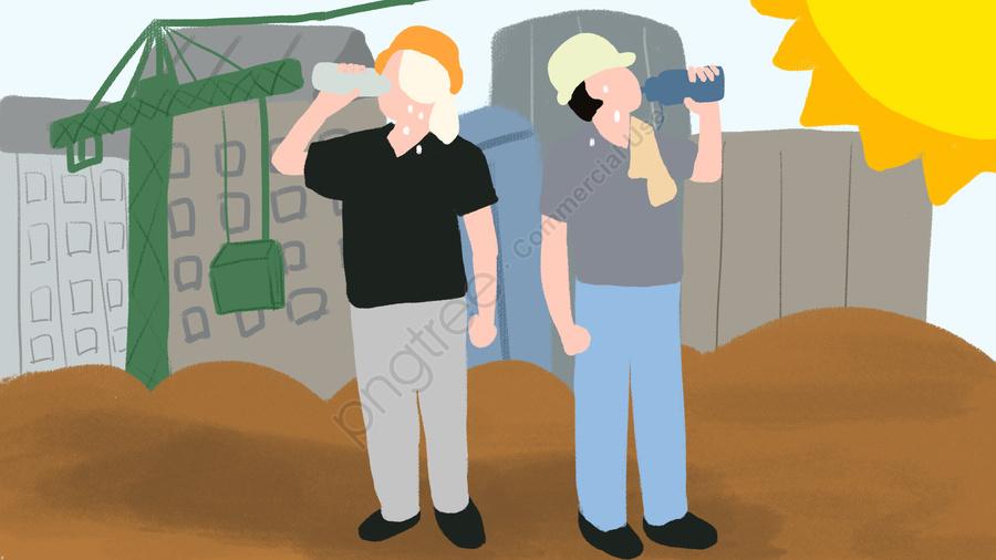 高温警告労働者は水、熱射病防御、オリジナルの手描きの地図を飲みます, 高温警告, 労働者の飲料水, 元の llustration image
