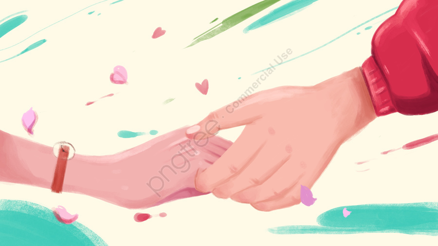 Chinese Valentines Day Couple Holding Hands Illustration Works, Holding Hands, Valentines Day, In Love llustration image