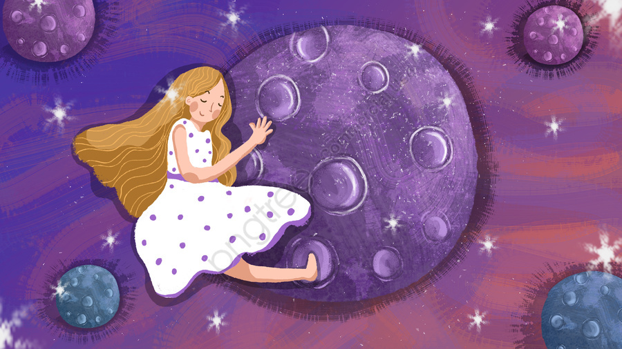 人間の太陰暦色の子供漫画手描きイラスト, 人間の月の日, 惑星, 抱擁 llustration image
