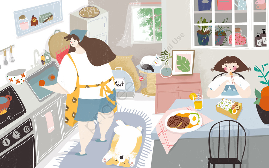 Kitchen Cooking Fun Everyday Life Home Original Illustration, Kitchen, Cooking, Mom llustration image