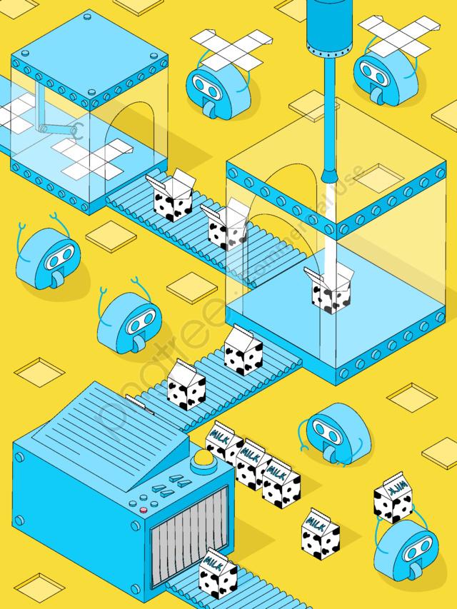 Nhà Máy Sữa 2 5d Vector Minh Họa Robot Nhỏ Màu Vàng Tươi Xanh, Sữa, Nhà Máy, 2.5d llustration image