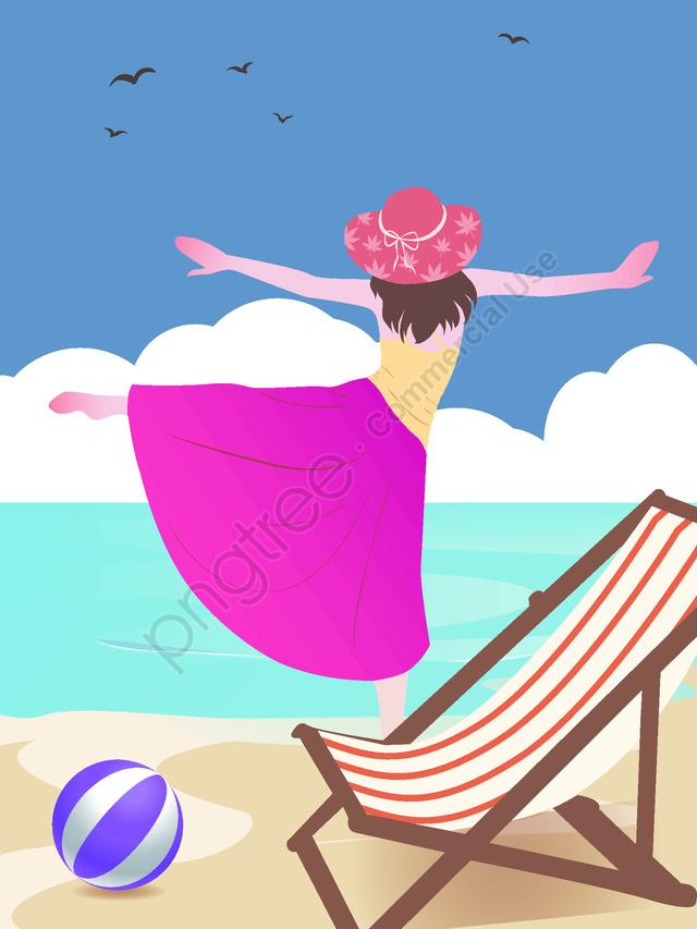 簡約風海邊的女孩原創旅遊插畫, 簡約風, 海邊的女孩, 旅遊插畫 llustration image