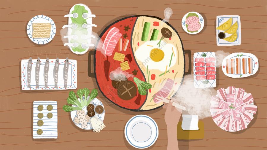 Original 鸳鸯 горячий горшок обеденный стол маленькая иллюстрация свежей жизни, грибы, горшок, мясо llustration image