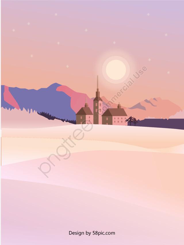 मूल सुंदर दृश्य रोमांटिक गुलाबी बैंगनी परिदृश्य ढाल चित्रण, मूल, सुंदर, रोमांटिक llustration image