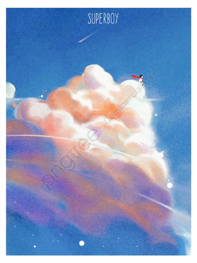 Fantasy starry sky illustration cloud color blue beautiful healing system original, Asal, Awan, Langit Biru llustration image