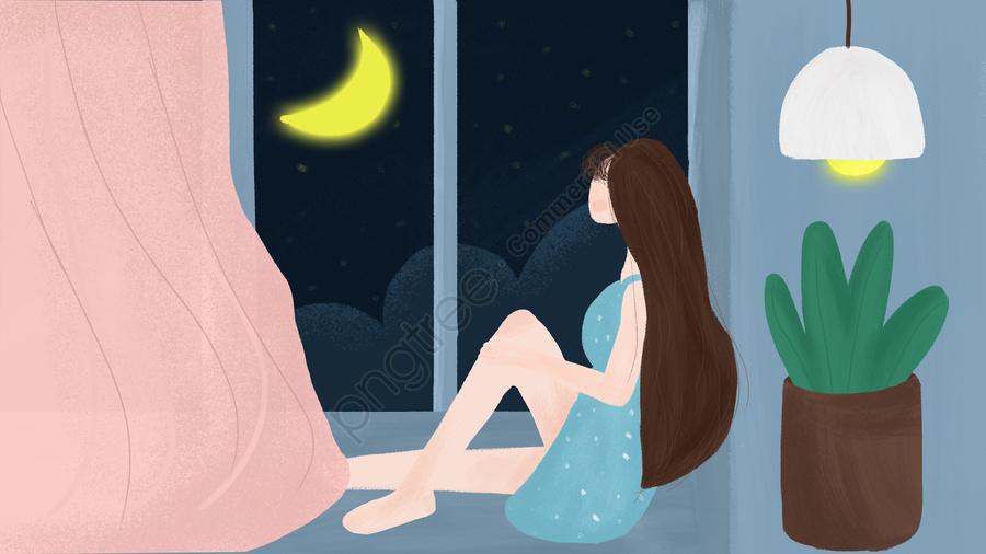 Original Hand Painted Small Fresh Night Bedroom Window Girl Moon Home, Original, Hand Painted, Small Fresh llustration image