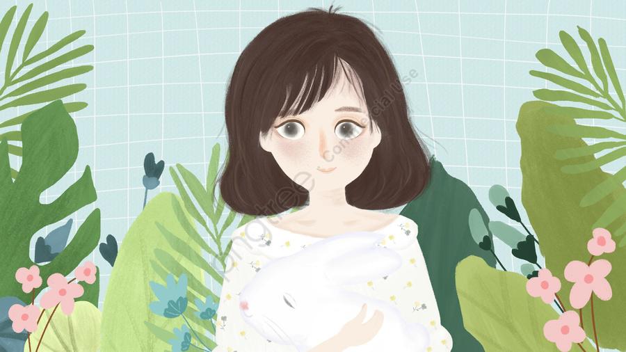 열대 식물의 손으로 그린 작은 신선한 소녀 시리즈, 원본, 손으로 그린, 작은 신선한 llustration image