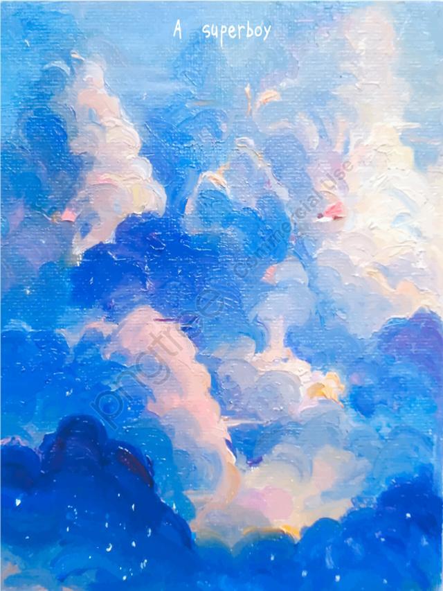 Blue Illustration Of Dreamy Sky, Original Illustration, Blue Sky, Small Fresh llustration image