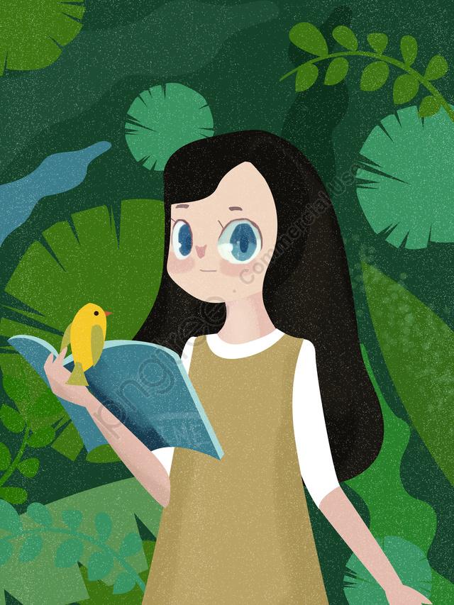 Original Illustration Character Literary Girl, Original Illustration, Character Girl, Girl llustration image