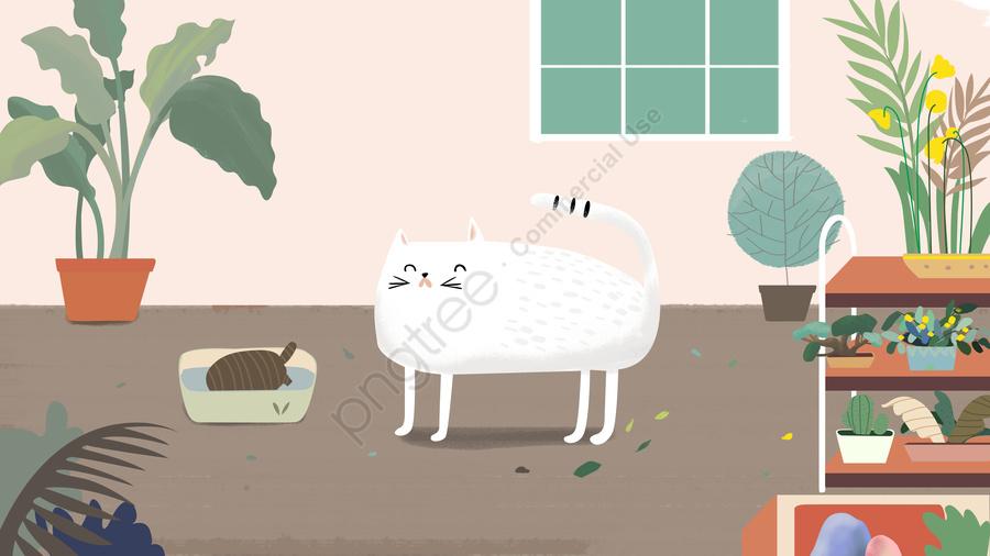 オリジナルイラストフラワー子猫, 元のイラスト, 花, 子猫のイラスト llustration image