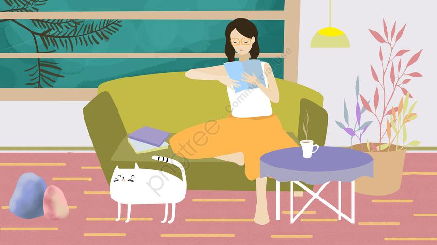 Original Illustration Home Reading Girl, Original Illustration, Reading At Home, Girl llustration image