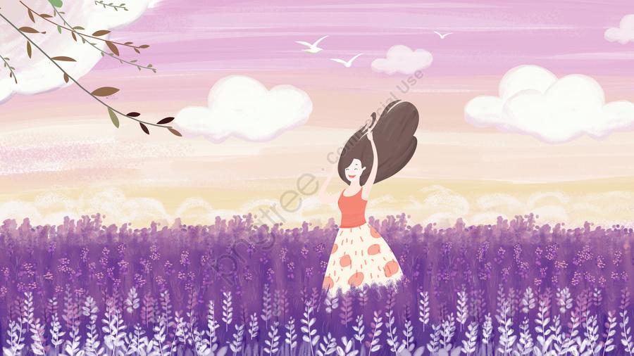 元のイラストロマンチックな紫色の花海の少女, 元のイラスト, ロマンチックパープル, フラワーシーガール llustration image