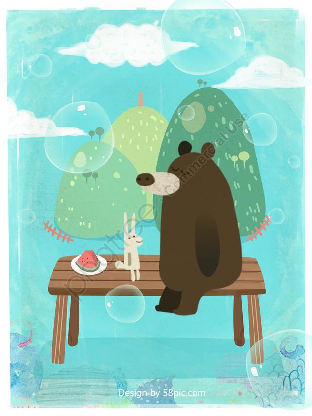 Original illustrations of bears and rabbits meet you this summer, 元のイラスト, テクスチャの図, 夏 llustration image