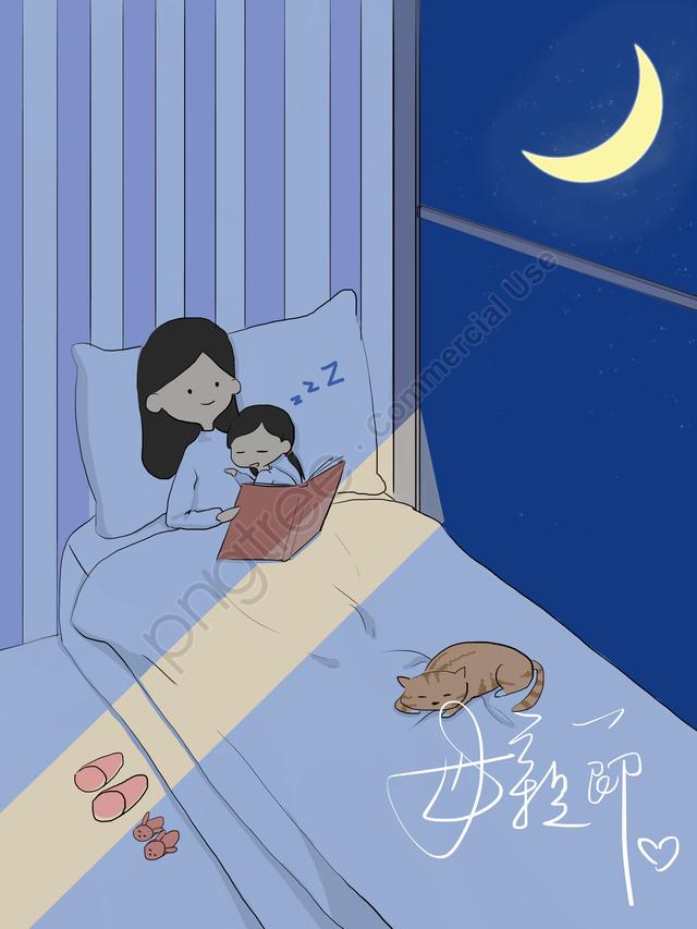 オリジナル母の日夜のイラスト, オリジナル, 夜の夜, 子供 llustration image