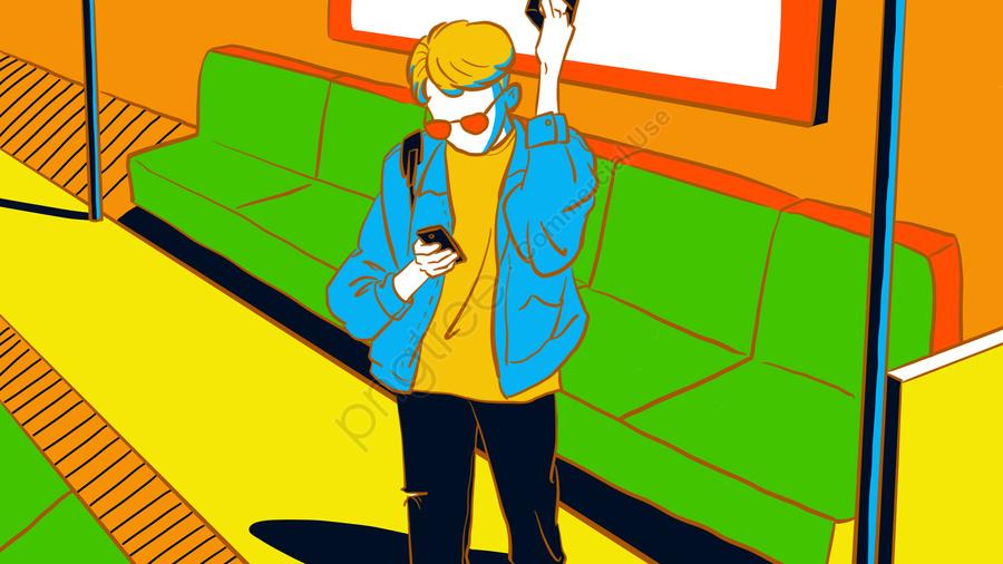 Original Summer One Person Subway Contrast Color Illustration, Original, Summer, Summer llustration image