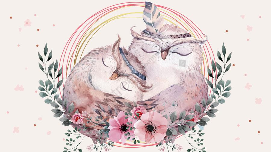 フクロウのぬくもりを抱く母と娘の原画, フクロウ, 母と娘, 手描き llustration image