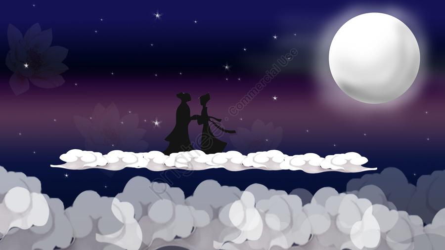 Qixi niu lang weaver girl silhouette, Festival Qixi, Festival, Moon llustration image