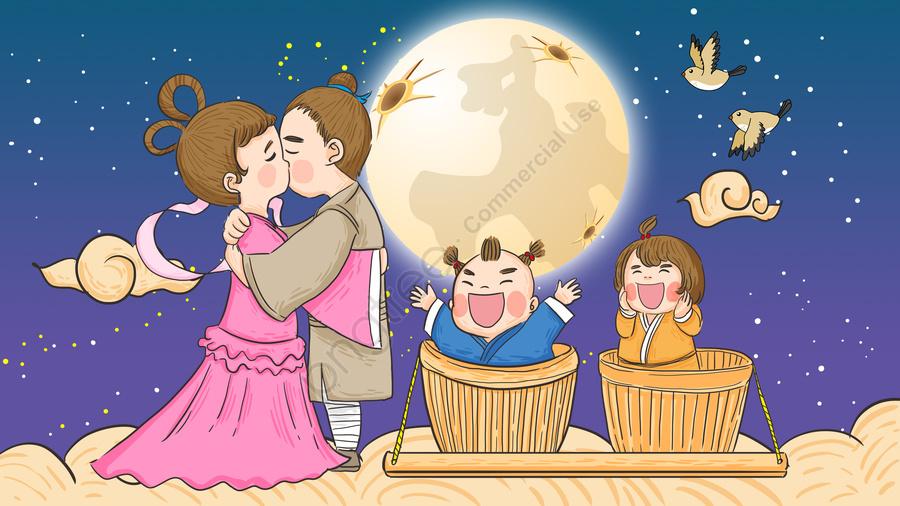 Qixi Festival、cowherd、子供たちと、ウィーバーと、手描きのオリジナルイラスト, 七夕祭り, 七夕, 77 llustration image