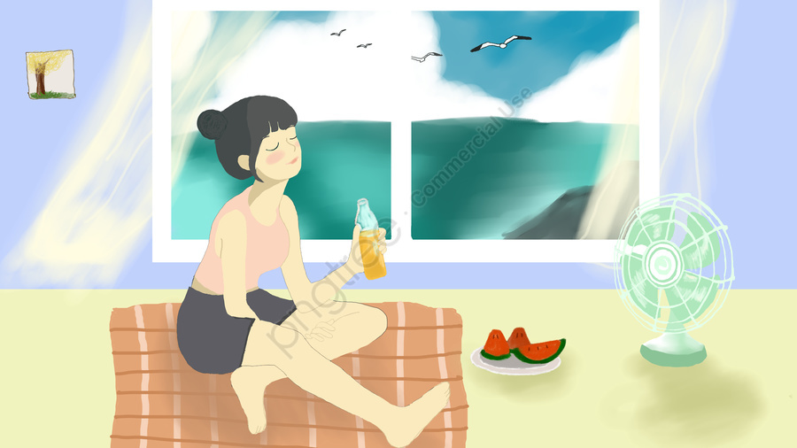 清爽一夏夏日你好, 清爽, 夏日, 夏天 llustration image