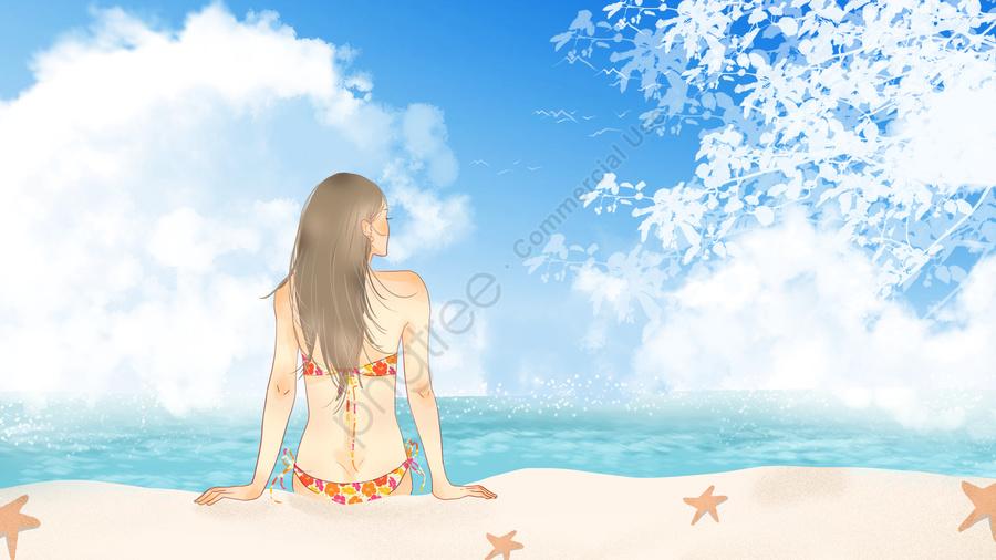 シンプルで新鮮な夏のビーチビーチの女の子の日光浴, 海辺, ビーチ, 日光浴 llustration image