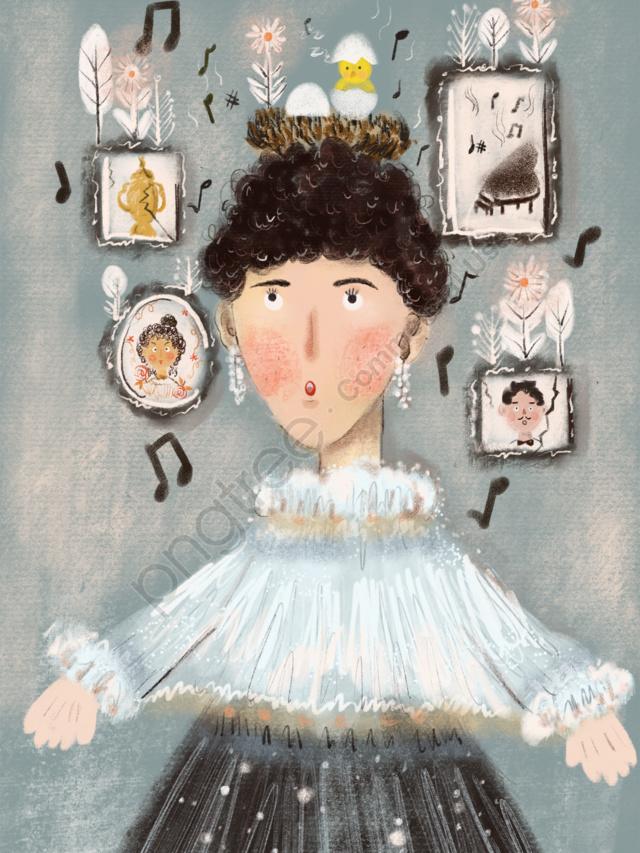 面白い抽象芸術オリジナルイラスト作品を歌っている白い女の子, 歌う, 子供っぽい, 灰色のチョークの質感 llustration image