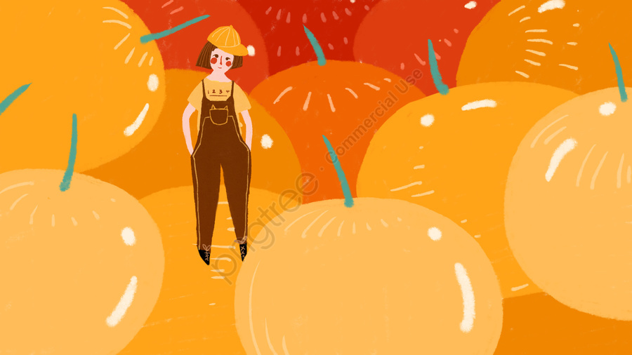Original Small Fresh And Simple Yellow Fruit Girl, Small Fresh, Simple, Yellow Fruit llustration image