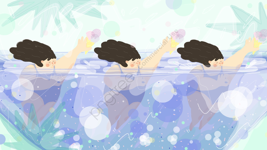Summer Fresh Breath Big Fat Girl Swimming Ice Cream, Solar Terms, Great Heat, Girl llustration image