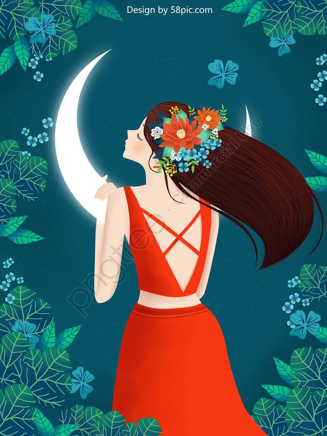Original Illustration Spring Blossom Girl, Spring Blossoms, Girl, Night llustration image