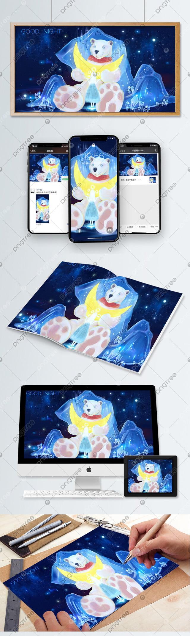 Good Night Hello Polar Bear Illustration, Starry Sky, Girl, Polar Bear llustration image