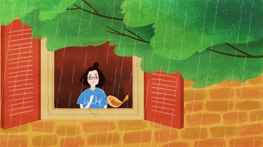 原創插畫夏天窗台女孩, 夏天, 你好夏天, 盛夏 llustration image