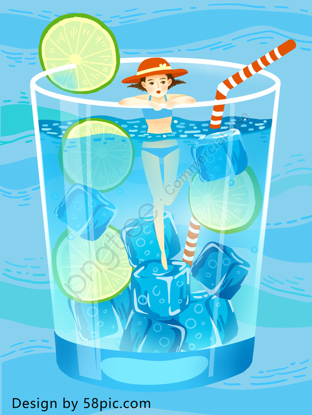 Hello Summer, Summer, Hot, Ice Cube llustration image