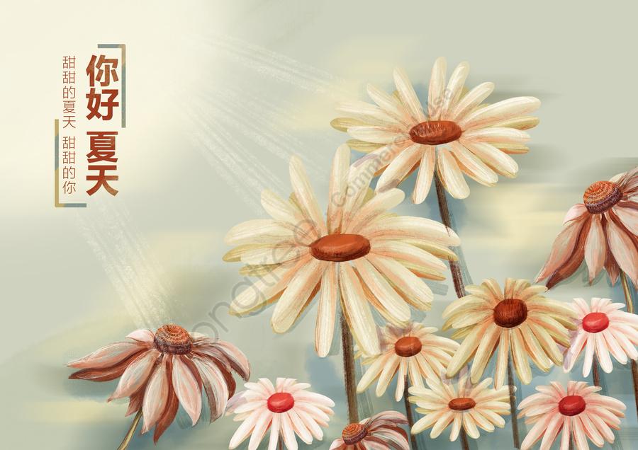 夏の花の下で手描きのオリジナルイラストポスター, 夏, イラスト, 新鮮な llustration image