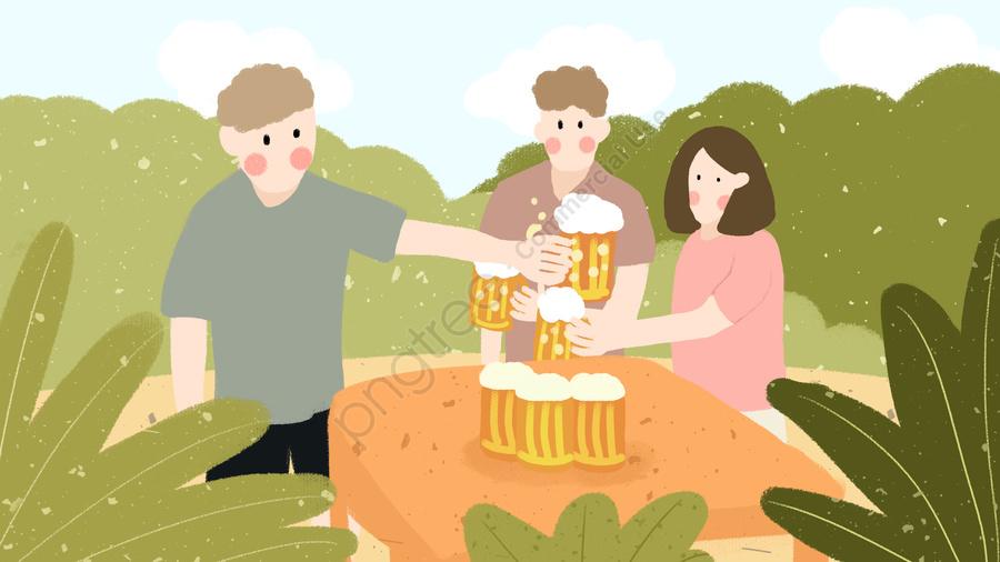 여름 장면 야외 잔디 마시는 맥주 파티 작은 신선한 손으로 그린 그림, 여름 장면, 야외 활동, 잔디밭 llustration image